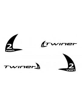 Autocollant coque Twiner (Le jeu D/G: Twiner + logo 17cm x2) - Noir